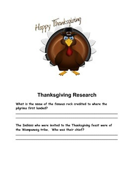 Thanksgiving Research  - Great for all ages