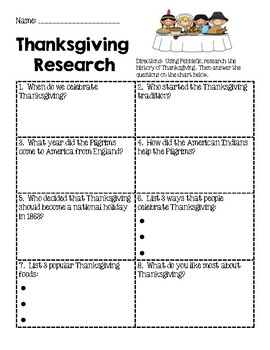 Thanksgiving Research Recording Sheet