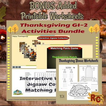 Image of Seasonal Products by R&C  Thanksgiving Puzzles Bundle  for Grade 1-2