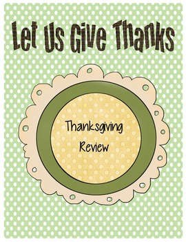 Thanksgiving Review Activities