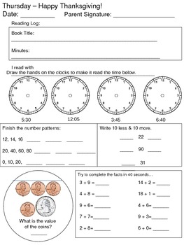 Thanksgiving Review Packet - Second Grade
