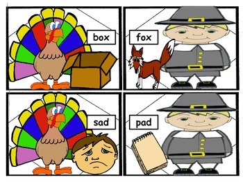 Thanksgiving Rhyming Practice- White Background Version