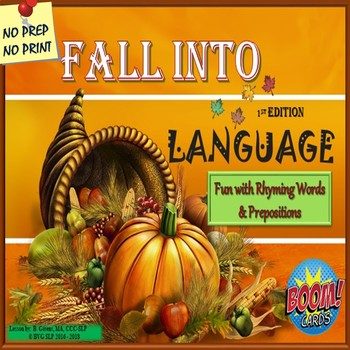 Thanksgiving Rhyming Words & Prepositions Language 1st Edition - Teletherapy