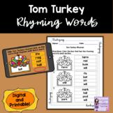 Thanksgiving Rhyming Words | Turkey Rhymes