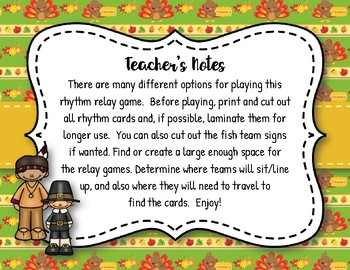 Thanksgiving Rhythm Relays - A Game to Practice Ta Rest