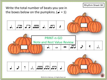 Thanksgiving Music Activities: 40 Thanksgiving Rhythm Worksheets - color