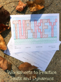 Thanksgiving Turkey Color by Note Rhythm and Dynamic Worksheet