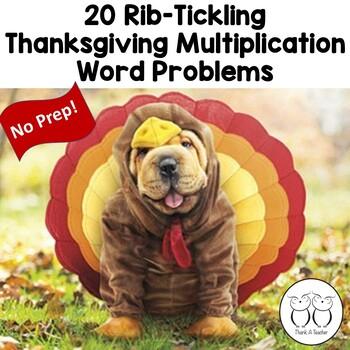 Thanksgiving Rib-tickling Multiplication Word Problem Task Cards Common Core