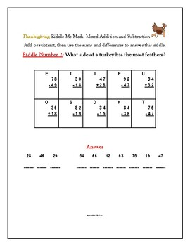 Thanksgiving Riddle Me Math: Mixed Addition and Subtraction