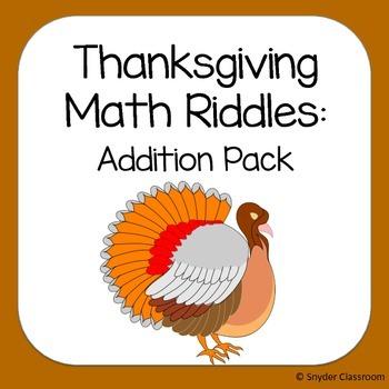 Thanksgiving Addition Math Riddles