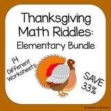 Thanksgiving Math Riddles: Elementary Bundle