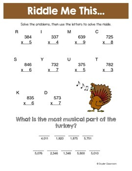 thanksgiving multiplication math riddles by snyder classroom tpt. Black Bedroom Furniture Sets. Home Design Ideas