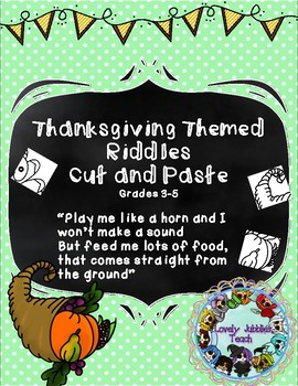 Thanksgiving Riddles and Puzzle Cut and Paste