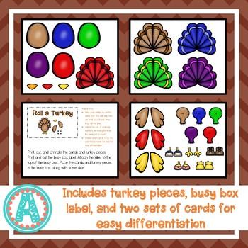 Thanksgiving Roll-A-Turkey Busy Box
