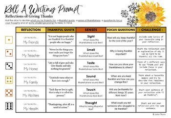 Thanksgiving Roll-A Writing Prompt Personal Reflection