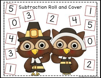 Thanksgiving Roll & Cover Addition & Subtraction Games!