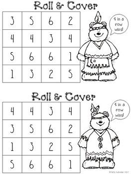 Thanksgiving Roll & Cover Kindergarten Practice Black & White - Recognizing 1-6