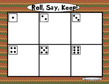 Thanksgiving: Roll, Say, Keep! Alphabet Center, Games, and Printables