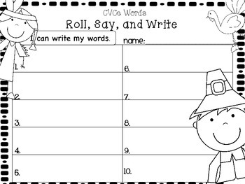 Thanksgiving Roll, Say,and Write with CVCe words - Writing Tools Edition