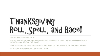 Thanksgiving Roll, Spell, and Race! Game for Spelling