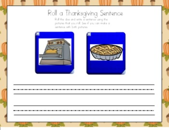 Thanksgiving Roll a Sentence for the Smart Board