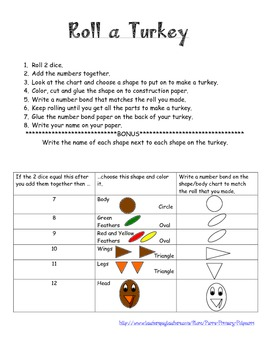 Thanksgiving Roll a Turkey Math Craftivity