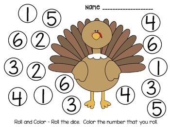 DOLLAR DEAL!! Thanksgiving Roll and Color Addition Game
