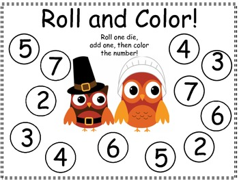 Thanksgiving Roll and Color Dice Game