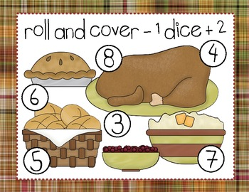 Thanksgiving Roll and Cover Dice Game (4 games in 1)