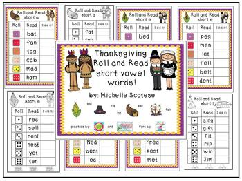 Thanksgiving Roll and Read Short Vowel Words