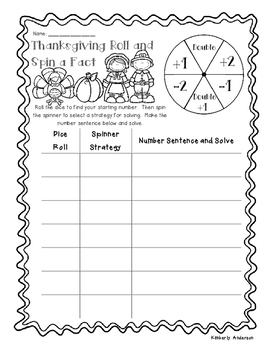 Thanksgiving Roll and Spin a Fact - Basic Facts (Addition