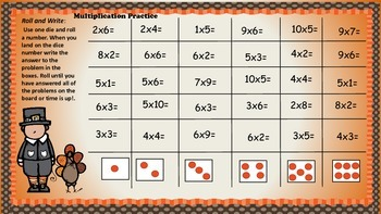 Thanksgiving Roll and Write Math Games