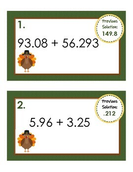 5th Grade Thanksgiving Rotation Stations - Adding and Subtracting Decimals