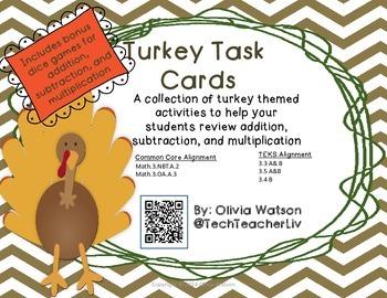 Thanksgiving Rotation Task Cards - 3rd Grade