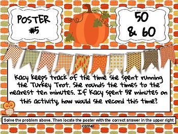 Thanksgiving Rounding to Nearest Ten and Hundred - 3.NBT.1 Scavenger Hunt