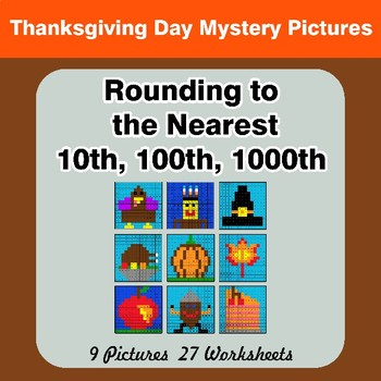 Thanksgiving: Rounding to the nearest 10th, 100th, 1000th Math Mystery Pictures