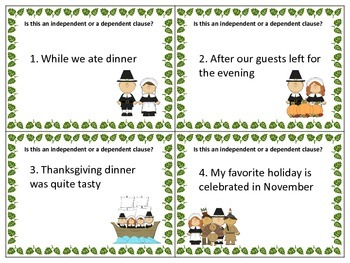 Thanksgiving SCOOT Independent and Dependent Clauses