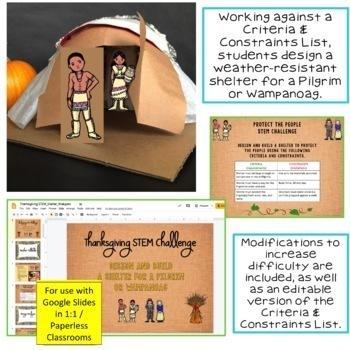 Thanksgiving STEM Challenge Protect a Pilgrim 1:1 PAPERLESS