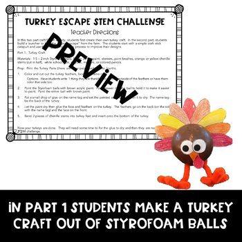Thanksgiving STEM Challenge and Turkey Craft