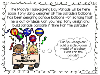 Thanksgiving STEM - Design and Build a Macy's Parade Balloon Float
