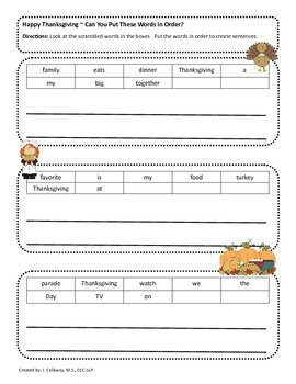 Thanksgiving SUPER Language Packet!