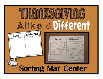 Thanksgiving Same Different Sorting Mat Center or Work Task