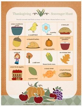 Thanksgiving Scanvenger Hunt