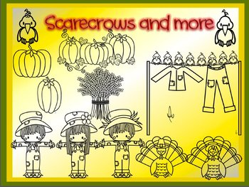 Thanksgiving Scarecrows and More Outlines Only