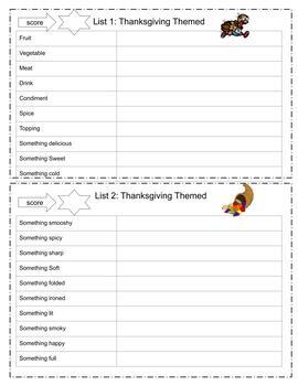 Thanksgiving Scattergories Game