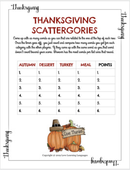 Thanksgiving Scattergories Games
