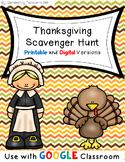 Thanksgiving Scavenger Hunt- Distance Learning- Google Classroom
