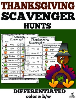 Thanksgiving Day Scavenger Hunt (Color and B/W)