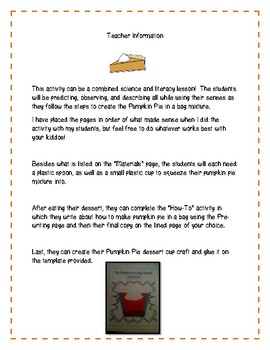 Thanksgiving Science: Pumpkin Pie in a Bag Science and Literacy!