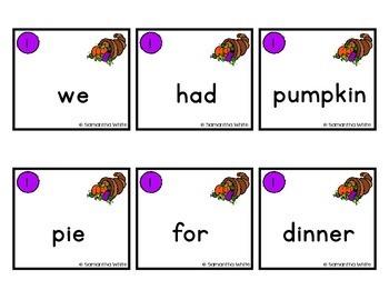 Thanksgiving Scrambled Sentences
